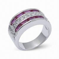 Wholesale 925 Sterling Silver Ring with CZ and Rhodium Plating from china suppliers