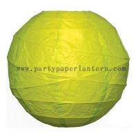 Quality 8 Inch Chartreuse green Round Free style Ribbed Party Paper Lantern Decoration for sale
