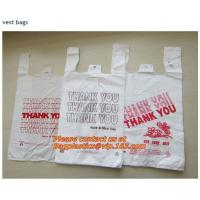 Wholesale Colorful grocery t shirt bags on rolls with thank you printing, various plastic thank you from china suppliers