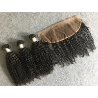 Wholesale 100% Peruvian Human Hair Weave Virgin Kinky Curly Hair with 13x4 Lace Frontal from china suppliers