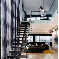 Wholesale European classic stair black wood steel staircase with patch fitting glass railing from china suppliers
