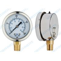 Wholesale 2.5 Inch phosphor bronze tube fluid filled pressure gauge with brass connector from china suppliers