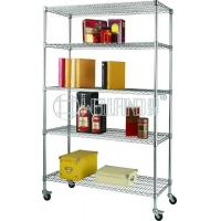 Quality 5 Tiers Chrome Heavy Duty Wire Shelving with Wheels for sale