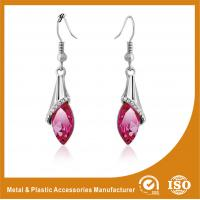 Wholesale Rhinestone / Pink Stone Long Earrings Nickel Free Lead Free 4.5cm from china suppliers