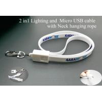 Wholesale 2in1 usb cable For IOS & Android  Lighting and Micro USB cable with Neck hanging rope EB-PA002 from china suppliers
