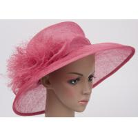 China Spring Pink Ladies Sinamay Hats / 56cm Unedged Decoration Sinamay Hats For Stage Show on sale