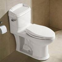 Buy cheap Two-piece White Toilet with Gravity Flushing and Slow Down Cover, Made of Ceramic from wholesalers