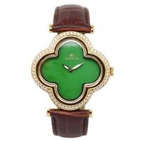 Wholesale Flower Shape Jade Watch Stainless Steel Case With Diamond On Bezel from china suppliers