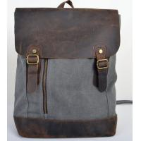 Wholesale factory price leather patchwork with canvas packsacks for men and women from china suppliers