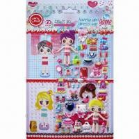 China Puffy Stickers with Acrylic and Foam, Girls Dress Up Game on sale