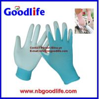 Wholesale white nylon knitted light blue nitrile coated gloves from china suppliers