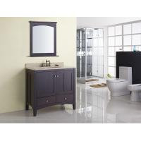 Quality Square Modern Bathroom Sink Vanity / Rectangle Sink Vanity Contemporary Dark Brown for sale