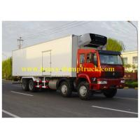 Wholesale 20 tons and  -19 C Howo Ice Box Truck 8x4 with Euro II Emission , Box Van Truck from china suppliers