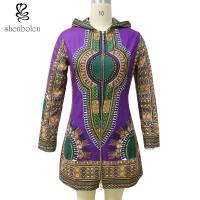 Wholesale Zipper Front African Ladies Jackets With Hoodie Long Sleeve Wax Printed from china suppliers