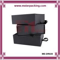 Wholesale High quality matte black slide paper box/cardboard drawer box with ribbon ME-DR020 from china suppliers