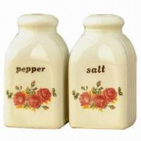 Wholesale Classical Ceramic Salt and Pepper Shaker with Printed Flower from china suppliers