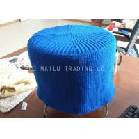 Wholesale Sea Blue Crochet Stool Cover Cylindrical Shape Knitted Footstool For Home Furniture from china suppliers