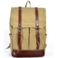 Wholesale canvas knapsack patchwork with first layer leather for men welcome in Brazil market from china suppliers