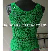 Wholesale Cotton Handmade Crochet Dress / Sleeveless Green Womens Crochet Vest For Spring from china suppliers