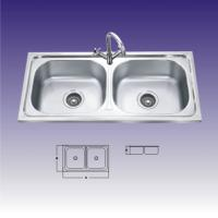Wholesale Polished Stainless Steel Sinks For Kitchen , Double Bowl With Draining from china suppliers