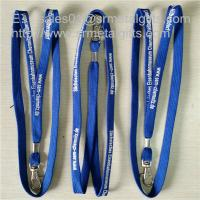 Wholesale Wholesale tubular polyester ribbon lanyard with metal sheet crimp, cheap tube lanyards, from china suppliers