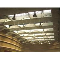 Several pieces cable metal meshes are installed on the ceilings with a wave structure.