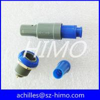 Wholesale factory price blue color M14 solder 1P series 6pin lemo circular plastic connector PAGPKG straight plug and fixed socket from china suppliers