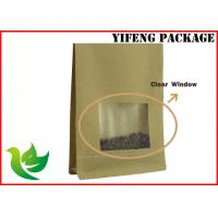 Wholesale Kraft Stand Up Pouches With Window / Resealable Kraft Paper Bags Custom Printing from china suppliers