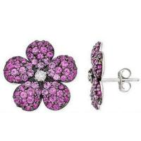 Wholesale Pink Sapphire & Diamond Flower Earrings from china suppliers