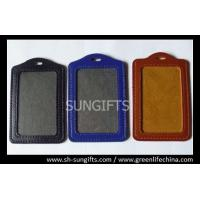 Wholesale Vertical color frame leather card holder, business leather badge holders from china suppliers