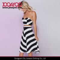Wholesale Ladies Black Chevron Stripe Crop Top and A-line Midi Skirt Two Piece Set from china suppliers