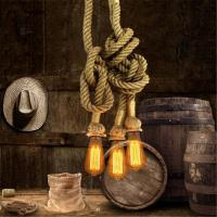 Wholesale Creative Personality Edison Bulb Vintage Rope Pendant Light Industrial Lamp American Style For Living Room from china suppliers