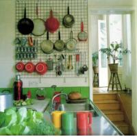Chrome grid panels hook pots, spoons, bowls with S-shaped hook