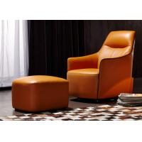 Wholesale OEM Bedroom Modern Style Wooden Lounge Chair With Orange Color Leather from china suppliers