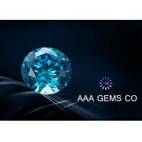 Wholesale Blue Synthetic Moissanite Round Cut 6.5mm Moissanite Diamonds created moissanite from china suppliers