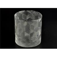 Wholesale Contemporary Glass Candle Holder Transparent With Embossed Pattern from china suppliers