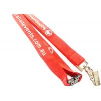 Quality Customized Polyester Id Card Lanyards With Bulldog Clips / Plastic Buckles for sale