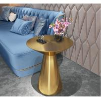 China Contemporary design Round Gold stainless steel Bistro table Corner table Pub table for hotel Club Cafe on sale