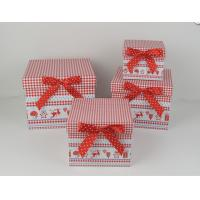 Wholesale Square Cardboard Gift Storage Boxes CMYK Printing With Red Ribbon from china suppliers
