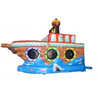 Wholesale Christmas Pirates Ship Inflatable Boat Slide For Shopping Mall , Orange / Blue from china suppliers