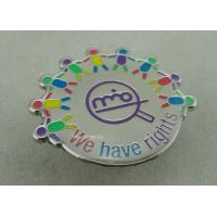 Wholesale Die Struck Iron Epoxy Award Soft Enamel Pin , Silver Club Badges With 3D Logo from china suppliers