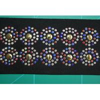 Wholesale Colorful Rhinestone Black Elastic Webbing 5cm , Beautiful Round Pattern from china suppliers