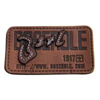 China Customized stamped  sewing Logo  Leather Patches Real Leather For Garment on sale