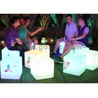 Wholesale LED Ottoman Cube Bar Chairs , Rechargeable Waterproof Glowing Cube Table from china suppliers