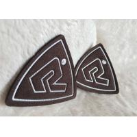 Wholesale Customized Brown Suede Embossed Leather Patches , Shiny Siliver High Density Tpu Logo from china suppliers