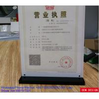 Wholesale Table A4 Brief Introduction Photo Acrylic Display Stands Black Base from china suppliers