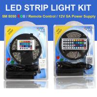 Buy cheap Color Changing RGB LED Strip Light Full Set 5M 5050SMD Come With Remote Control and Power Supply from wholesalers