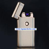 Quality Usb charging ultra-thin windproof lighters double arc pulse arc creative electronic cigarette lighter for sale