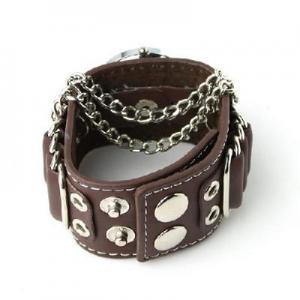 Quality Punk Gothic Ladies Women Men Gens' Genuine Leather Wrist Watch for sale