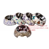 Dishwasher-Safe Melamine Dog Bowl Applique Round Dog Bowl Set